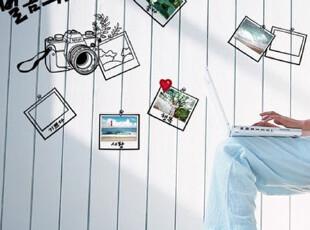 厅电视沙发背景墙三代可移除照片墙贴 往事记忆相框A 相册相机,墙贴/开关贴,