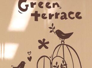 【Asa room】韩国壁贴 可爱的小鸟绿色的小草创意墙贴 a427,墙贴/开关贴,