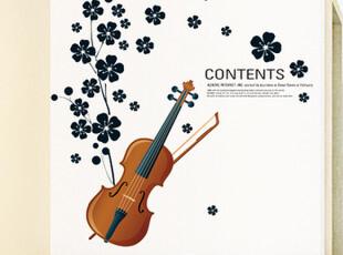 客厅卧室儿童房背景墙三代可移除墙贴提琴小花[提琴小花]书房装饰,墙贴/开关贴,