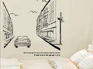 伦敦街景-韩国进口-黑色简约时尚装饰贴纸-背景墙贴-双面玻璃贴,墙贴/开关贴,