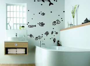 墙贴 卫生间贴瓷砖贴 儿童房卧室 墙上贴纸幼儿园玻璃贴 海底世界,墙贴/开关贴,