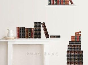 韩国进口*图书典藏*自粘玄关贴客厅卧室床头沙发书房背景墙贴,墙贴/开关贴,