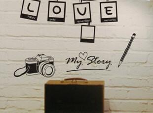 新品上市 照相机 墙饰 客厅墙贴纸 儿童照片贴 卧室照片墙 a891,墙贴/开关贴,