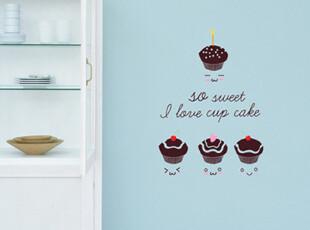 【Asa room】韩国壁贴代购 厨房贴纸创意DIY可爱蛋糕墙贴多色a523,墙贴/开关贴,