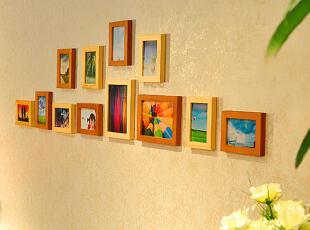 金鼎 实木12框卧室床头 照片墙 组合相框墙贴 创意家居饰品,墙贴/开关贴,