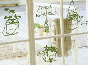 ◆我家的小盆栽◆墙贴 玻璃 家具 移门 橱柜贴 绿色植物,墙贴/开关贴,