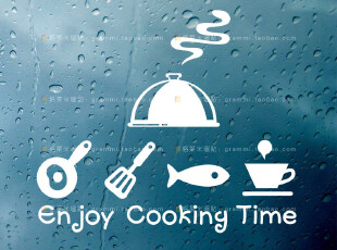 kooky time 卡通贴 厨房贴识 餐台墙贴 趣味贴纸 厨具标识贴 G149,墙贴/开关贴,