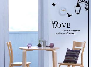 大型欧式墙贴 电视墙背景 卧室客厅墙帖 房间装饰自粘墙纸 路灯鸟,墙贴/开关贴,