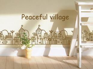 墙贴 手绘 日式 卡通 儿童房 玻璃贴 客厅 新款  童话小城文-21,墙贴/开关贴,