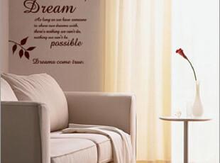 DIY 抽象 客厅 卧室 沙发 背景墙贴 装饰[梦想成真]英文,墙贴/开关贴,