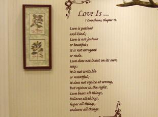 itie爱贴墙贴《文字-LOVE》客厅最浪漫手写贴文字墙贴,墙贴/开关贴,