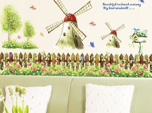 儿童节大促浪漫大风车客厅卧室儿童房卡通 三代可移除墙贴纸,墙贴/开关贴,