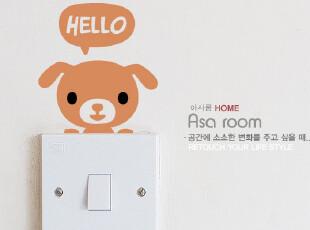 【Asa room】韩国进口壁贴 卡通创意小狗儿童墙贴客厅墙纸 a508-1,墙贴/开关贴,