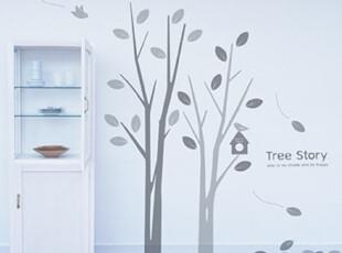 【Asa room】韩国进口代购壁贴田园创意小树客厅卧室墙纸墙贴a409,墙贴/开关贴,