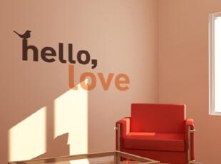 HELLO LOVE-心弦墙贴玻璃贴-玄关床头沙发背景墙-欧式简约,墙贴/开关贴,