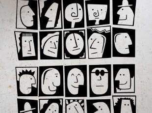 高档精品磨砂墙贴 出口欧美名家作品 个性创意【埃及面孔】,墙贴/开关贴,