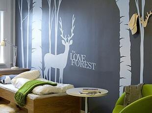 大型墙贴 树林 出口磨砂精品 客厅背景墙【林间私语】鹿与树唯美,墙贴/开关贴,