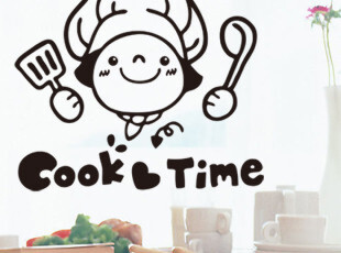 满88包邮 特价墙贴  防水 厨房 卡通 墙贴 cook time 贴纸 墙纸,墙贴/开关贴,