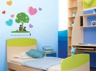 两小无猜-韩国进口自粘卡通儿童房背景墙贴-瓷砖贴-家具贴-青春树,墙贴/开关贴,