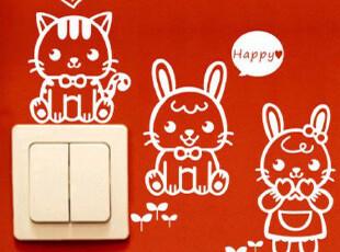 可爱兔子开关贴创意贴纸墙贴卡通壁贴 灯开关强帖可移动墙纸贴画,壁纸/墙纸,