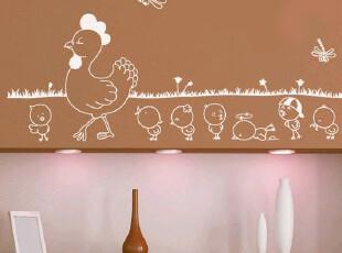 HYUNDAE环保DIY家居装饰贴纸墙纸贴画小鸡可爱墙贴 创意脚线壁贴,壁纸/墙纸,