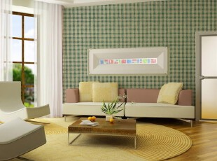 德珏壁纸原装进口 绿色条纹格子客厅卧室满铺墙纸 7035-178 正品,壁纸/墙纸,