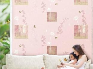 蝶漫花间舞/韩国进口温馨卧室床头背景墙纸/AB韩式壁纸粉红色蓝色,壁纸/墙纸,