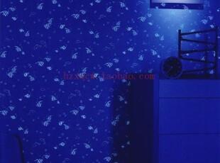 日本进口墙纸代购龙冉RUNON原装壁纸蓄光夜光可爱的小鱼儿童房,壁纸/墙纸,