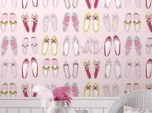 ◆新月壁纸◆韩国进口16.5平方大卷墙纸卡通可爱鞋子粉色,壁纸/墙纸,