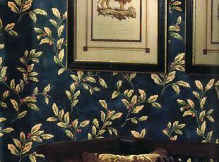 ◆新月壁纸◆北美蓝山进口墙纸蓝色风情复古深蓝叶子藤蔓,壁纸/墙纸,