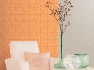 温暖橘色现代背景壁纸/韩国进口壁纸/简约压纹方格子/淡米色白色,壁纸/墙纸,