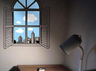 语恋墙贴 窗外风景 窗子窗户走廊卧室宜家风格DIY壁纸壁画 T559*,壁纸/墙纸,