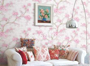 『馨尚区』韩国墙纸壁纸进口环保PVC,田园大花樱花xsq-E-006,壁纸/墙纸,