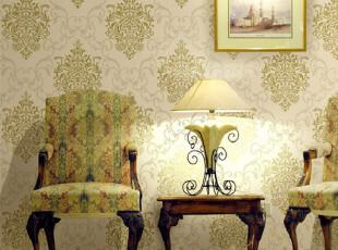 欧式撒金工艺植绒墙纸 高档无纺壁纸 客厅墙纸 卧室壁纸大马士革,壁纸/墙纸,
