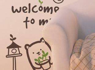 【Asa room】韩国进口代购壁贴 创意可爱小熊客厅墙纸墙贴 a389,壁纸/墙纸,