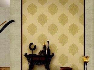 古典艺术气息韩国代购墙纸欧式大马士革客厅电视沙发卧室背景墙,壁纸/墙纸,