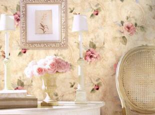 ◆新月壁纸◆格莱美进口纯纸墙纸WALLQUEST美式田园风格卧室花朵,壁纸/墙纸,