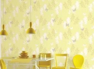 黄绿色蝴蝶恋花韩国代购大卷墙纸清新田园卧室客厅餐厅背景壁纸,壁纸/墙纸,