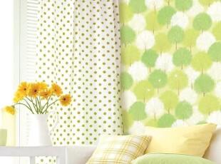 绿色小树-韩国进口田园自粘壁纸家具贴即时背景墙纸冰箱贴翻新贴,壁纸/墙纸,