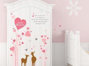 韩国进口-小鹿爱心树-儿童房客厅卧室背景墙纸贴-浪漫满屋墙贴纸,壁纸/墙纸,