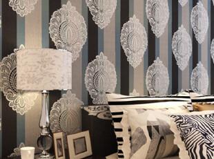欧式条纹大马士革特价无纺布烫金壁纸*电视*床*客厅背景,壁纸/墙纸,