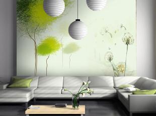 T米素大型壁画 电视墙背景墙壁纸客厅墙纸 简约影视墙 浪漫春季,壁纸/墙纸,
