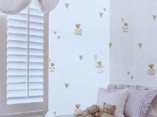 纸尚美学 可爱小熊无纺布墙纸ax20 B15042卧室背景满铺儿童壁纸,壁纸/墙纸,