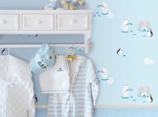 代购韩国正品壁纸|淡蓝色北极熊|纯纸大卷儿童房卡通卧室背景墙纸,壁纸/墙纸,