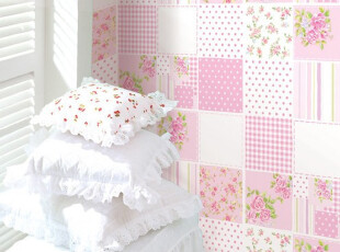 粉色田园碎花pvc磨砂特价贴纸 卧室 自粘墙纸环保温馨儿童房壁纸,壁纸/墙纸,