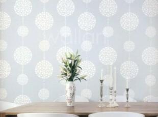 清爽淡蓝色/韩国进口16.5壁纸/简约现代圆圈客厅书房餐厅背景墙纸,壁纸/墙纸,