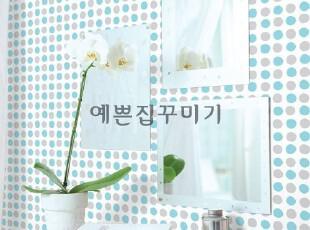 韩国进口自粘壁纸家具贴即时贴背景墙纸贴橱柜翻新贴-蓝灰圈圈,壁纸/墙纸,