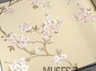 韩国进口10.6平米 韩式田园风格墙纸 梅花客厅背景 卧室书房壁纸,壁纸/墙纸,