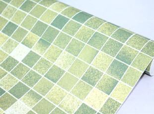 (爱花)PVC自粘墙纸 家具贴膜 壁纸 田园系列 绿格子 P1076-1,壁纸/墙纸,
