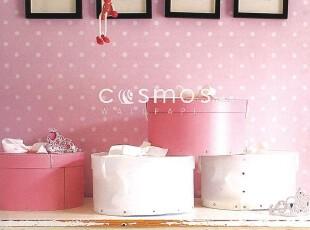 韩国进口16.5大卷PVC特价壁纸公主卧室背景墙纸儿童粉色水玉圆点,壁纸/墙纸,